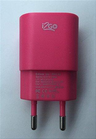 Carregador de Parede 1 USB Basic 5v 1 Amp Desing Rosa Pink