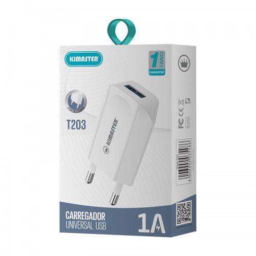 Carregador Universal USB 1A T203 Kimaster - Branco