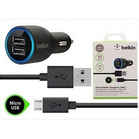 Carregador Veicular USB Duplo Cabo Belkin V8 Micro USB