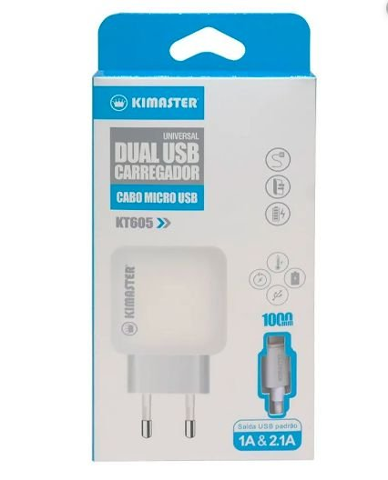 Carregador USB + Cabo Lightning 2.1A Kimaster- KT605 Branco