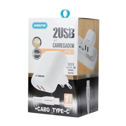 Kit Carregador 2 USB com Cabo Type-C 2.4A Kimaster - KT627 Branco