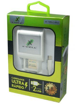 Kit Carregador 2 USB Ultra Rápido com Cabo Type C 2.4A X-Cell XC-TIPOC-UR6
