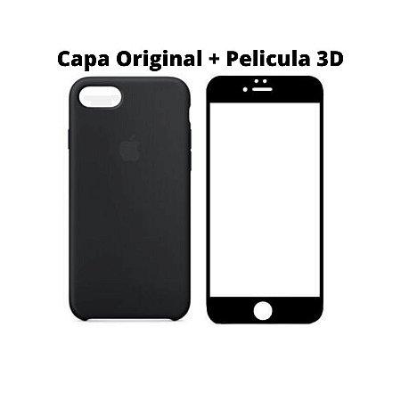 Kit Película 5D Preta e Capa Original Preta iPhone 7 e 8