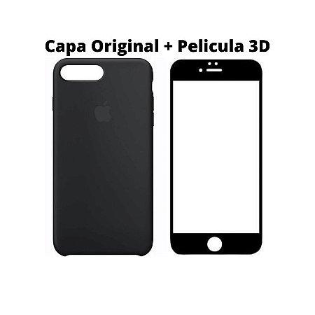 Kit Película 5D Preta e Capa Original Preta iPhone 7 8 Plus
