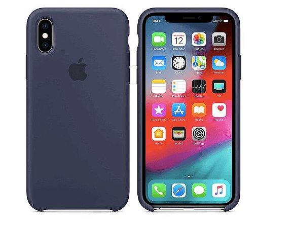 Capa Case Apple Silicone para iPhone Xs Max - Azul Marinho