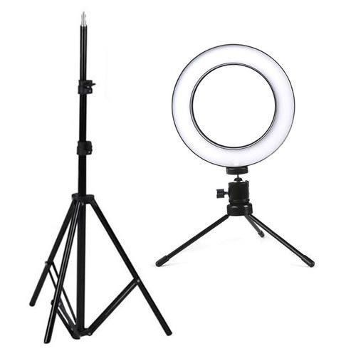 Selfie Light 10 Pol LED Controle Cor/Intensidade com 2xtripé