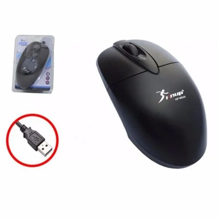 Mouse Óptico Com Fio USB Knup 1200dpi KP-M629 - Preto