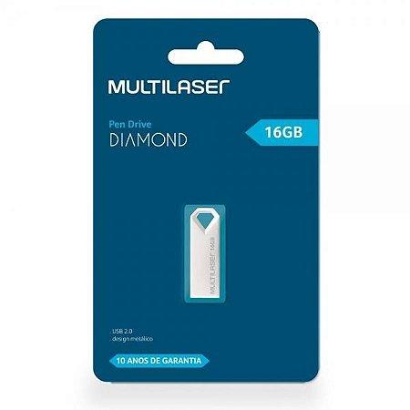 Pen Drive Diamond Multilaser 16GB USB 2.0 - Metálico