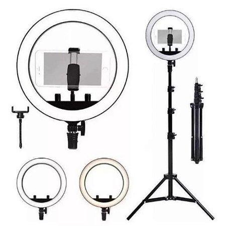 Ring Light Selfie 10 Pol Com Tripe 1,5m Com Controle de Cor
