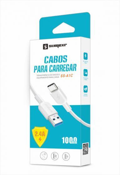 Cabo USB Type C Emborrachado 1m 2.4A Sumexr SS-A1C - Branco