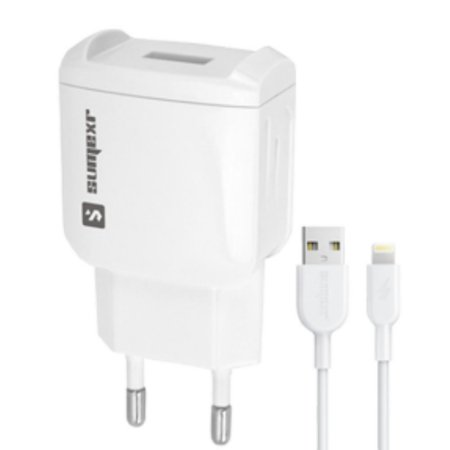 Kit Carregador Universal de Tomada 1 USB 1.5A + Cabo Lightning 1m Sumexr SX-F2-I6 - Branco
