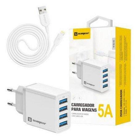 Kit carregador de Tomada 4 USB + Cabo USB-C Sumexr SX-F8-C