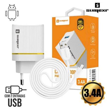 Carregador Universal de Tomada 2 USB 3.4A + Cabo MicroUSB 1m