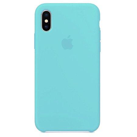 Capa Case Apple Silicone para iPhone Xs Max - Azul Turquesa