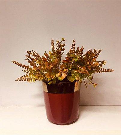 Vaso de Cerâmica Bordo com dourado