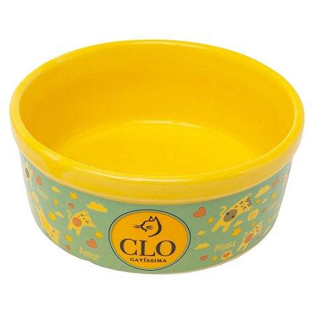 Comedouro de Cerâmica CloGatíssima Amarelo