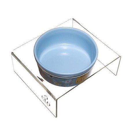 Comedouro Elevado Cerâmica e Acrílico CloGatíssima Azul