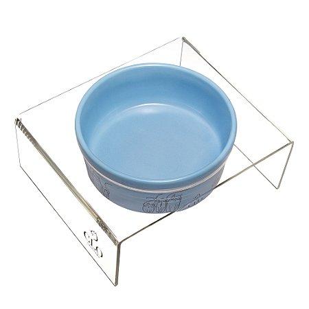 Comedouro cerâmica e acrílico Cat Family Blue CloGatíssima