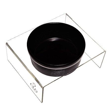 Comedouro cerâmica e acrílico Cat Family Black CloGatíssima