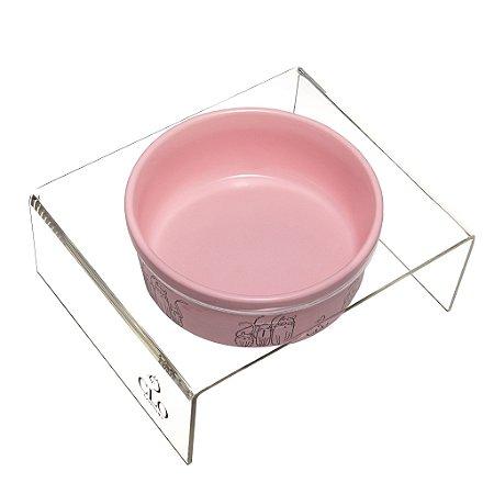 Comedouro cerâmica e acrílico Cat Family Pink CloGatíssima