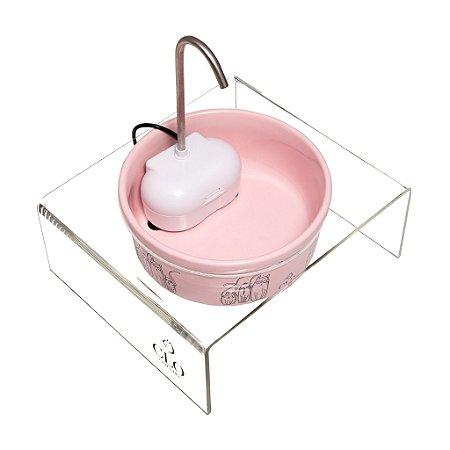Fonte de água elevada para gatos Cat Family Pink CloGatíssima