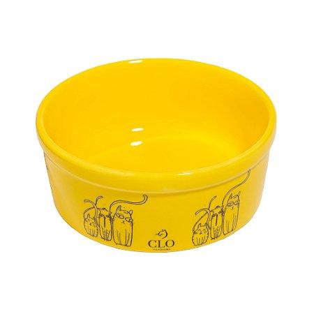 Comedouro de Cerâmica Cat Family Yellow CloGatíssima