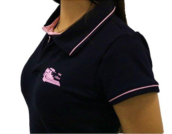 Camisa Polo Mais Soja Preto/Rosa
