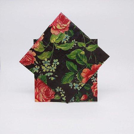 Rosa fundo Marrom {Tecido de Cera * Kit com 2 M}