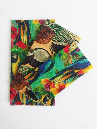 Tecido de Cera estampa Papagaios e Coco {Kit com 3 P/M/G}