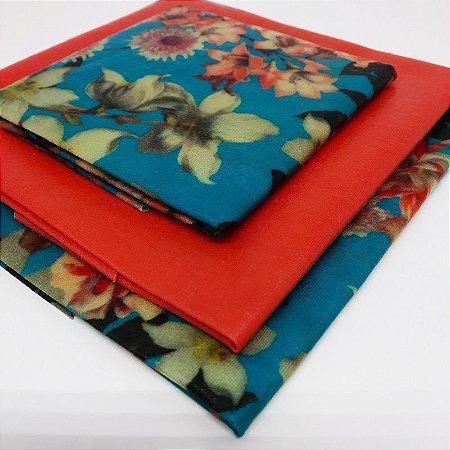 Flores Azuis {Tecido de Cera * Kit com 3}
