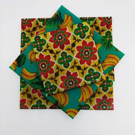 Amarelo Flores & Banana {Tecido de Cera * Kit com 3}