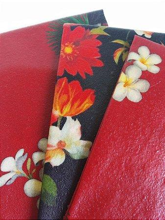 Tecido de Cera estampa Papagaios, Tucanos & Flores fundo Preto { Kit com 3 P/M/G}
