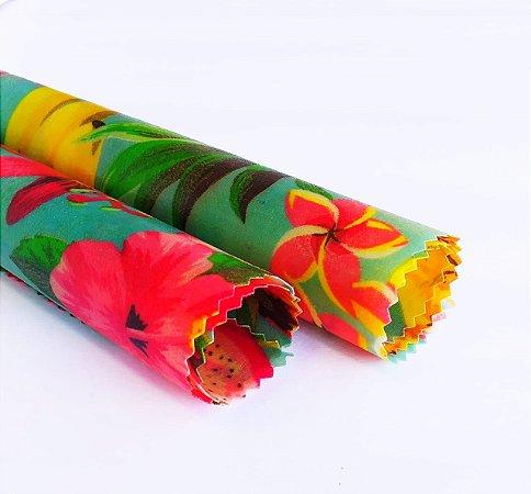 Frutas & Flores Turqueza {Tecido de Cera * Kit com 2 P}