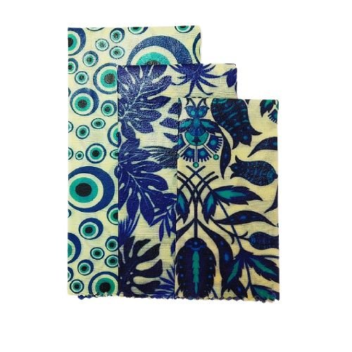 Pano de Cera estampa Olho Grego & Folhagens Azuis {Kit com 3 P/M/G}