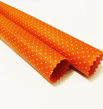 Poá laranja {Tecido de Cera * Kit com 2 P}