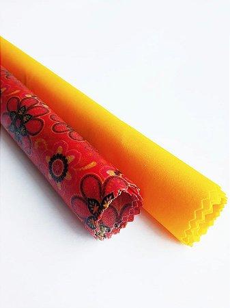 Flores Mandalas & Amarelo {Tecido de Cera * Kit com 2 M}
