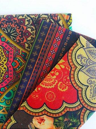 Tecido de Cera estampa Mandalas & Listras {Kit com 3 P/M/G}