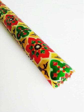 Tecido de Cera estampa Mandala Flores Amarelo {P Unitário}