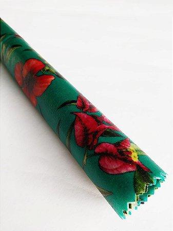 Tecido de Cera estampa Flores fundo Azul {M Unitário}