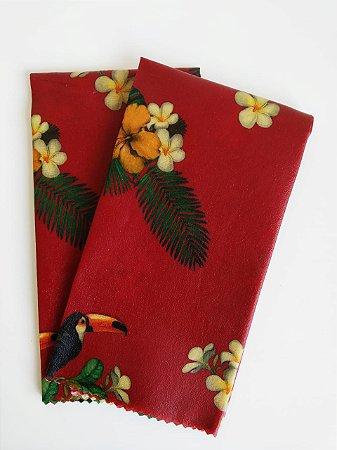 Tecido de Cera estampa Papagaio e Tucanos fundo Vermelho {Kit com 2 G}