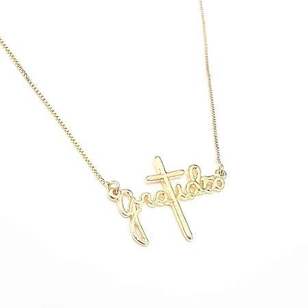 Gartangilha Folheada a Ouro com Pingente Frontal Escrito Gratidão Medida 40cm