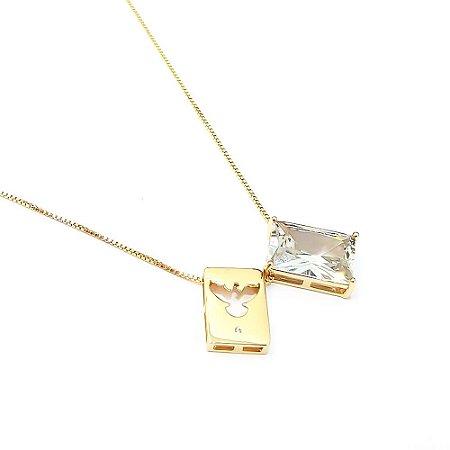Escapulário Folheado a Ouro com Pingente na Pedra de Zircônia Medida 60cm