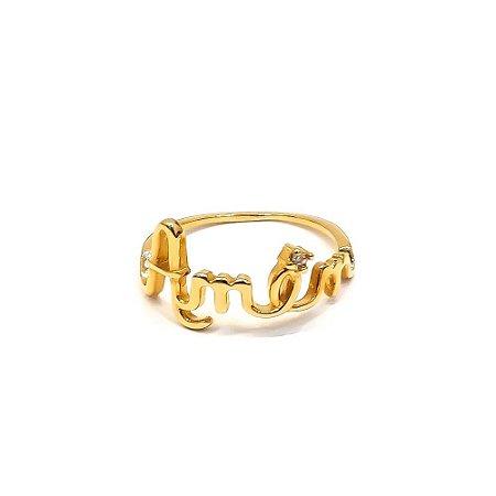 Anel folheado a ouro escrito amem com pedra de zircônia