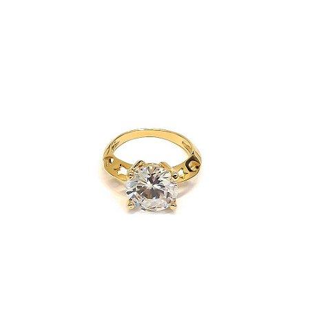 Anel folheado a ouro solitário com pedra de zircônia