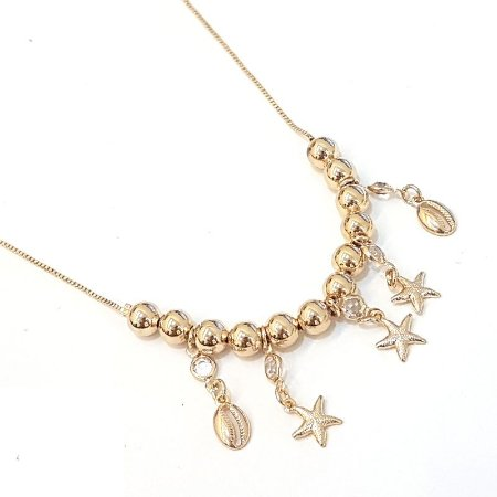 Gargantilha folheada a ouro com vários pingentes  Medida 40 cm