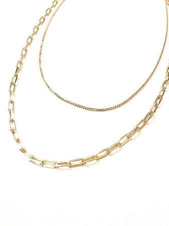 Gargantilha dupla folheada a ouro com corrente Cartier