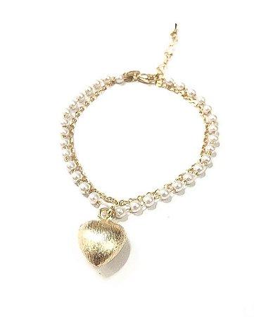 Pulseira folheada a ouro com perola e pingente de coração