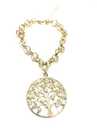 Pulseira Folheada a Ouro com Pingente Árvore da Vida Cravejado