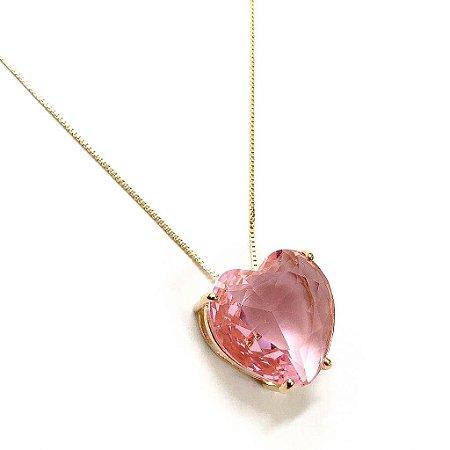 Colar Folheado a Ouro com Pingente de Zircônia em Formato de Coração Rosa