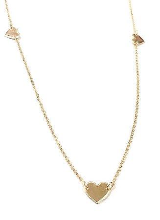 Gargantilha Folheada a Ouro com Pingentes em Formato de Coração